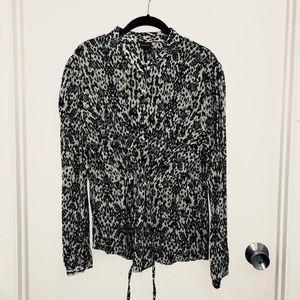 Snakeskin print blouse with drawstring